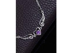 Faux Amethyst Heart Angel Wings Necklace