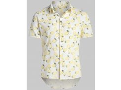 Lemon Print Hawaii Beach Shirt