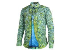 Covered Button Peacock Printed Casual Shirt