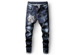 Embroidery Tiger Ripped Faded Wash Jeans