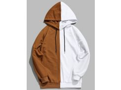 Contrast Patchwork Casual Hoodie