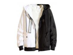 Color Block Letter Patchwork Hooded Jacket