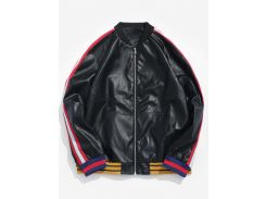 PU Leather Stripe Bomber Jacket
