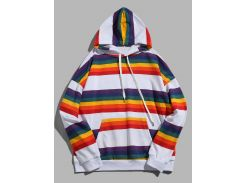 Rainbow Striped Kangaroo Pocket Pullover Hoodie