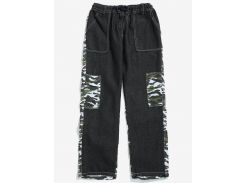 Camouflage Denim Patchwork Casual Pants