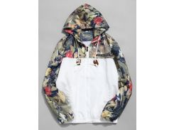 Floral Printed Patchwork Hooded Jacket