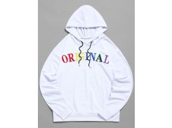 ZAFUL Letter Embroidered Pocket Drawstring Hoodie