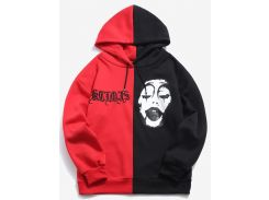 ZAFUL Two Tone Color Face Printed Embroidery Hoodie