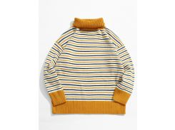 Turtleneck Striped Pullover Knit Sweater