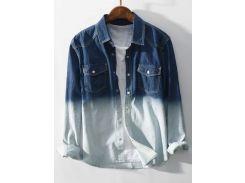 Roll Sleeve Ombre Pocket Denim Shirt
