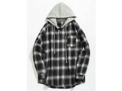 Chest Pocket Check Hooded Shirt