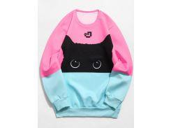 Color Block Cat Print Sweatshirt