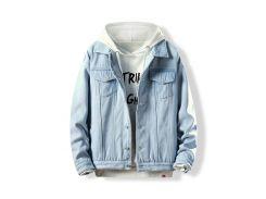 Turn-down Collar Button Fly Fleece Denim Jacket