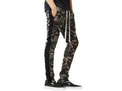 Side Stripe Hem Zipper Camo Drawstring Track Pants