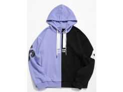 Contrast Color Letter Pullover Hoodie