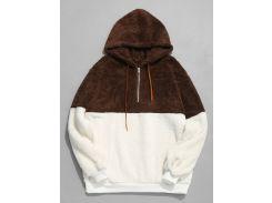 Faux Fur Half Zip Panel Hoodie