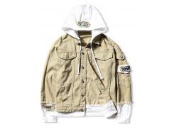 Casual Faux Pocket Ripped Letter Number Applique Hooded Jacket