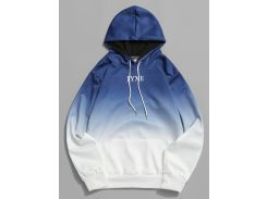 Letter Ombre Print Pouch Pocket Hoodie
