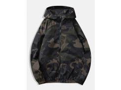 Raglan Sleeve Camo Windbreaker Jacket