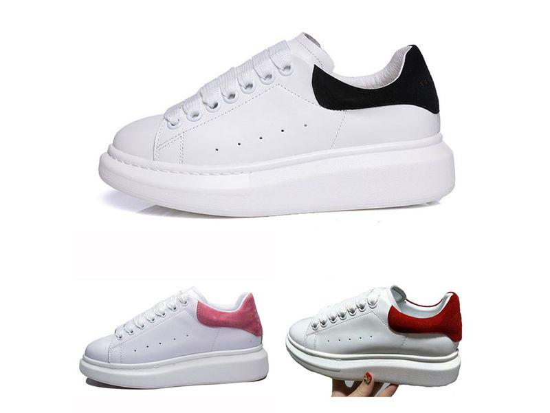3e17a7762663 2018 Новый Мужская Женская Мода Роскошные Белые Кожаные Туфли На Платформе  Плоские Туфли Леди Черный Красный