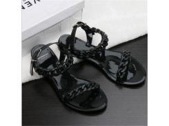 Европа и 2017 США новые пластиковые цепи пляжные ботинки конфеты цвет желе сандалии цепи плоские дна нижней сандалии