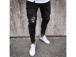 Мужские джинсы Stretchy Ripped Skinny Biker Jeans Cartoon Pattern Destroyed Taped Slim Fit Black Denim Pants 2018 New