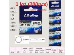 200 шт. 1 лот AG1 LR621 164 364 364A SR621 LR60 1.55 В Щелочные Кнопочные Аккумуляторы батареи монеты