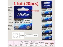 1 лот AG3 LR41 192 384 392 392A SR41 L736 1.55 В щелочные кнопки батареи монета батареи Бесплатная д