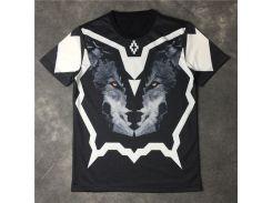 2017 летняя мода бренд бирка одежда mens marcelo burlon 3D волк печать футболка kanye западная м