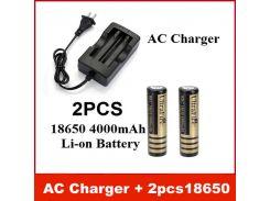 Новое зарядное устройство переменного тока(ЕС/США) + 2 шт. отличная UltraFire 18650 3.7 V 4000mA