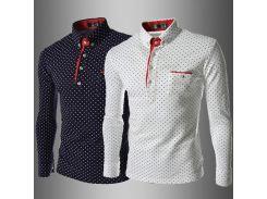 Мужчины Поло футболка мода лацкан горошек печати досуг тонкий длинные рукава Анг