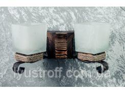 Настенный светильник бра из дерева на 2 лампы