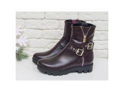 Ботинки-металлисты из натуральной гладкой кожи бордового цвета, на удобной подошве с глубоким протектором, Коллекция Осень-Зима, Б-450