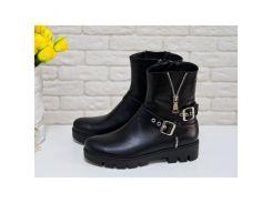 Ботинки в стиле 'милитари' черного цвета из натуральной кожи, коллекция Осень-Зима, Б-450
