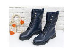 Ботинки-берцы в темно-синей коже на шнурках на устойчивой подошве черного цвета, Б-16077