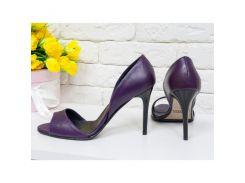 Босоножки из натуральной кожи фиолетового цвета на удобном каблуке-шпилька, С-704