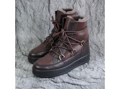 Женские зимние ботинки - луноходы из натуральной кожи коричневого цвета, st27-85