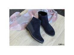 Женские ботинки из натуральной замши синего цвета на небольшом каблуке, 12003-1