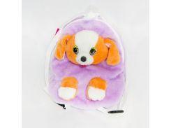 Рюкзак детский Собака 32см сиреневый (2883)