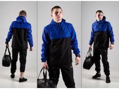Мужской спортивный костюм анорак и штаны черно-синий + барсетка в подарок ДРО ХЛ