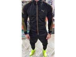 Мужской спортивный костюм черный с хаки  без капюшона Сл 1247