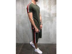 Летний мужской костюм футболка и шорты Сл 1270-1273 хаки