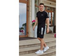 Летний мужской костюм футболка + шорты Nike Air( реплика ) Сл 1467,1468,1469 черный