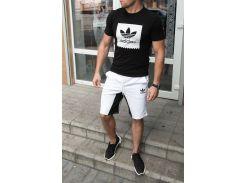 Летний спортивный костюм adidas ( копия ) футболка и шортыСл 1478,1479 черно-белый