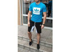 Летний спортивный костюм adidas ( копия ) футболка и шортыСл 1478,1479 сине-голубой