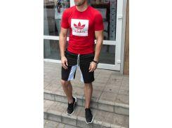 Летний спортивный костюм adidas ( копия ) футболка и шортыСл 1478,1479 черно-красный