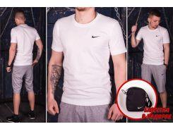 Мужской костюм летний футболка и шорты,барсетка в подарок ДРО серый