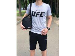 Мужской костюм спортивный  шорты и футболка ДРО серый