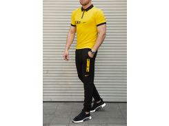 Летний мужской костюм футболка поло + штаны Nike Сл 1390,1391 желтый