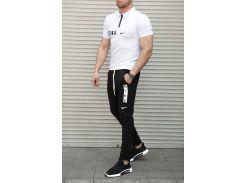 Летний мужской костюм футболка поло + штаны Nike Сл 1390,1391 белый